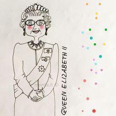 La regina Elisabetta seconda ha stabilito un record;il regno più lungo della storia britannica! Io la amo nei suoi abiti pastello  God save the Queen  #queenelisabeth #queen #record #illustration #illustrazione #doodle #ighirigoridimonila