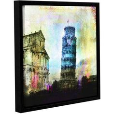 ArtWall Elena Ray Leaning Tower Of Pisa Gallery-wrapped Floater-framed Canvas, Size: 14 x 14, Black
