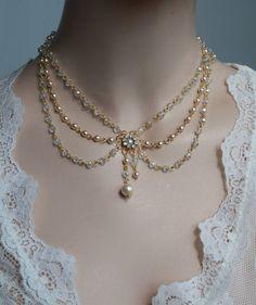 Victorian Bridal Necklace Vintage Necklace Swarovski Crystals