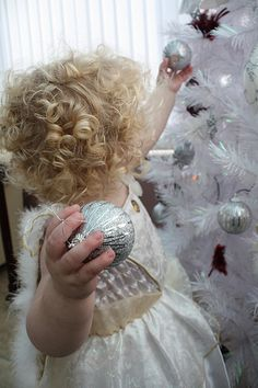Christmas in Silver Grey and White - little girl and ornaments