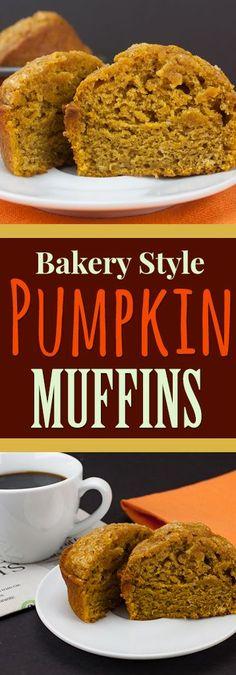 Bakery Style Pumpkin Muffins - These muffins are jumbo, gloriously full of pumpkin flavor, moist and tender. Bakery Style Pumpkin Muffins - These muffins are jumbo, gloriously full of pumpkin flavor, moist and tender. Zucchini Muffins, Muffins Blueberry, Pumpkin Recipes, Fall Recipes, Holiday Recipes, Pumpkin Bread, Vegan Pumpkin, Pumpkin Spice Muffins, Pumpkin Pumpkin