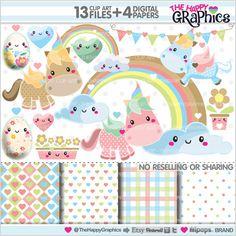 Unicorns Clipart, Unicorn Graphics, COMMERCIAL USE, Kawaii Clipart, Cute Clipart, Planner Accessories, Rainbow Clipart, Rainbow Graphics