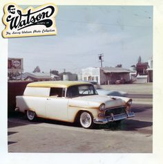Not to often do we see a 1955 Chevy Sedan Delivery done up as a Custom Car. Larry painted this one in an off white pearl with gold flake top and butterscotch candy highlights. The unidentified car sits just right on wide whites and chrome reverse wheel in front of the Bill DeCarr/Watson Artesia blvd somewhere in 1960. The car had some chrome removed, but the door handles and hood ornament stayed in place. The Custom tube grille works well with 1955 Chevies....