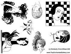 Art deco glam movie star elegant fashion rubber stamp unmounted stamps set