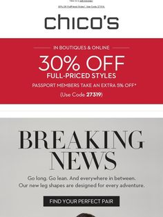 Get The New(s) In Pants + 30% Off - Chico's