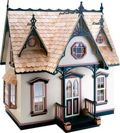 Wooden Dollhouse Kit Greenleaf Orchid Wood Doll House 1 Inch Scale Victorian New Victorian Cottage, Victorian Dolls, Victorian Dollhouse, Vintage Dollhouse, Wooden Dollhouse Kits, Dollhouse Dolls, Dollhouse Miniatures, Dollhouse Windows, Dollhouse Ideas