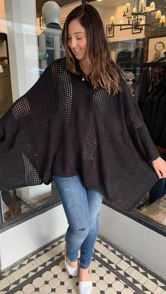 Knit Hooded Poncho Black   The Rock Box Store