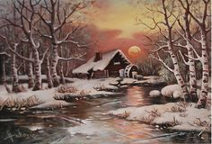 Old mill in the snow by Dusan Vukovic on ARTwanted