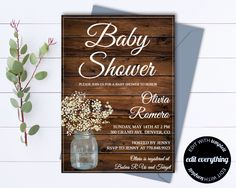 Rustic Baby Shower Invitation Template - Girl Baby Shower Invite - Baby Boy Shower Invitation - Country Baby Shower Template - Rustic Shower by MintedMemories on Etsy (null)