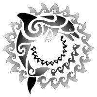 Sun and dolphin maori tattoo