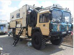 Resultado de imagem para man overland motor homes Jeep Cars, Jeep Truck, 4x4 Trucks, Truck Camper, Camper Trailers, Expedition Trailer, Expedition Vehicle, Motorhome, Man Kat