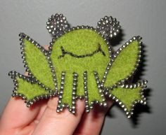 Zipper/Recycled Felted Wool Sweater Frog Pin/Brooch