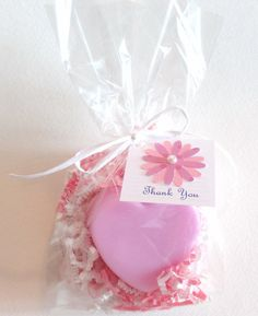 Heart Soap Party Favors in Pink Wrap with Flower Tags, Birthday Favor, Baby Shower Favor, Bridal Shower Favor, Wedding Favor on Etsy, $2.50