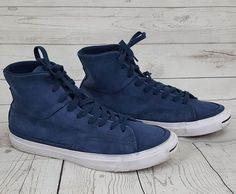 843b91d2368c Converse Jack Purcell blue suede leather high top sneakers shoes mens 12