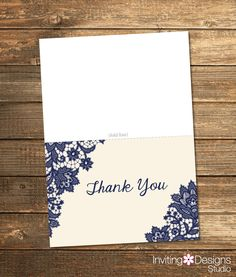 Thank You Card, Bridal Shower, Lace, Navy Blue, Formal, Rustic, PRINTABLE FILE by InvitingDesignStudio on Etsy