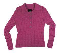 30c0f9ec0b8ec SUTTON STUDIO Size M 100% Cashmere Pink Cable Knit Polo Sweater   SuttonStudio  Collared