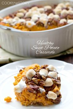 Healthy Sweet Potato Casserole Recipe - This holiday favorite uses low fat vanilla yogurt instead of heavy cream, butter, and sugar.