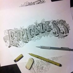 """""""Priceless"""" by @andycloned  #goodtype #strengthinletters #letters #lettering #handletter #priceless"""