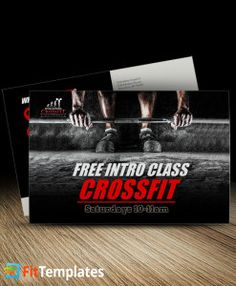 CrossFit postcard mailer template for marketing promotions from FitTemplates.com