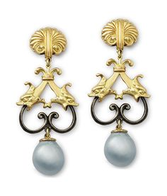 Beautiful double fish earrings with South Sea pearls