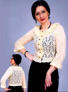 Chaqueta Gilet Crochet, Knit Crochet, Crochet Tops, Angora, Raglan, Knitting, Blouse, Lace, Long Sleeve