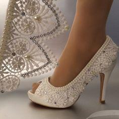 "4"" Heel satin white ivory lace ribbon Brides Shoes - Free Shipping"