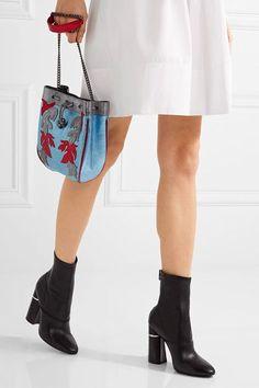 Philosophy di Lorenzo Serafini - Appliquéd Metallic Leather Bucket Bag - Blue - one size