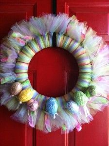 Easter wreath with Tulle, Ribbon & Sequin Eggs