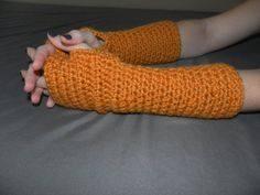 Crochet Wool Fingerless Gloves / The Hartfords / Mustard
