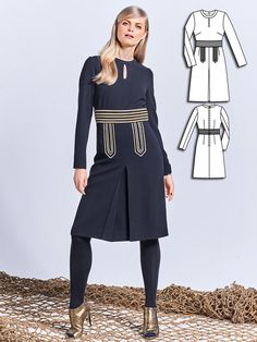 Looks like a top and skirt, but is a one-piece. This dress features a keyhole…