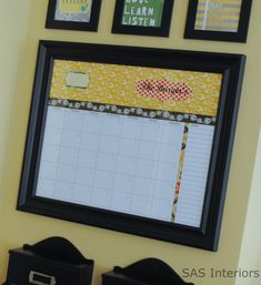 "Wow!  For $15, this is Sooo much cheaper than buying a ""mommy"" calendar book.  And it's dry-erase, so its reusable, re-fillable!  Never have to buy another one!  http://www.sasinteriors.net/2011/08/diy-personalized-dry-erase-calendar/"