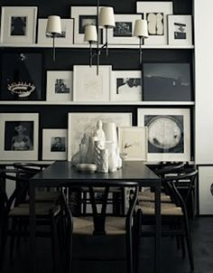 I love this gallery wall in the dining room