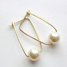 14K Gold Fill and Swarovski Pearl Hoop Earrings by StephStargell