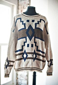 Aztec Navajo Tribal Print Oversize Sweater by SkeletonKeyVintage, $35.00