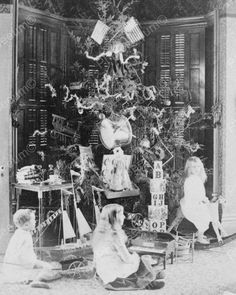 Christmas Day Children By Tree 1880s 8x10 Reprint Of Old Photo