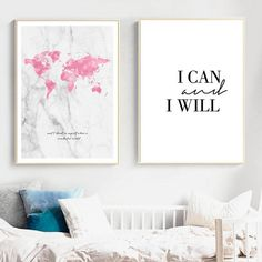 Positive Affirmation Pink Map Grey Marble Background Wonderful World Quote Wall Art Fine Art Canvas Prints Nordic Home Decor Room Wall Decor, Nursery Wall Art, Nursery Decor, Canvas Art Prints, Canvas Wall Art, Canvas Paintings, World Map Bedroom, Bedroom Canvas, Bedroom Wall