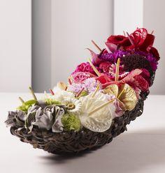 spathe as base Art Floral, Design Floral, My Flower, Flower Art, Flower Power, Ikebana, Flower Structure, Zantedeschia, Tropical Flowers
