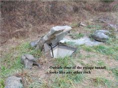 .Outside door of escape tunnel looks like a rock...great way to hide a storm shelter, or exit from the basement.