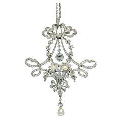 Belle Epoque Platinum, Diamond and Natural Pearl Pendant - Rene Boivin  c.1890-1914