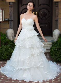 Wedding Dresses - $196.99 - A-Line/Princess Sweetheart Chapel Train Organza Satin Wedding Dress With Lace Beadwork Flower(s) (002034112) http://jjshouse.com/A-Line-Princess-Sweetheart-Chapel-Train-Organza-Satin-Wedding-Dress-With-Lace-Beadwork-Flower-S-002034112-g34112