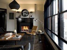 Roman and Williams {black and white loft living room} Home Living Room, Living Spaces, Condo Living, Apartment Living, Black Window Trims, Black Windows, Black Doors, Big Windows, Fine Paints Of Europe