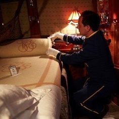 ♔Orient Express Venice Simplon-Orient-Express..The stewards work their magic in transforming the cabins for the evening.