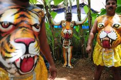 "Performers wearing body-paint depicting tigers wait for the artwork to dry as they prepare to take part in the ""Pulikali"", or Tiger Dance, in Thrissur on September 17, 2016. (Photo by Arun Sankar/AFP Photo) 