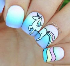 Having short nails is extremely practical. The problem is so many nail art and manicure designs that you'll find online Unicorn Nail Art, Unicorn Nails Designs, Unicorn Makeup, Cute Nail Art, Cute Nails, Pretty Nails, Nail Art Designs, Fingernail Designs, Les Nails