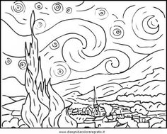 Starry Night By Vincent Van Gogh Coloring page-here is a site with tens of thousands of coloring pages, including famous […] Make your world more colorful with free printable coloring pages from italks. Our free coloring pages for adults and kids. Vincent Van Gogh, Van Gogh For Kids, Art For Kids, Art Children, Free Printable Coloring Pages, Coloring Book Pages, Coloring Sheets, Van Gogh Zeichnungen, Desenhos Van Gogh