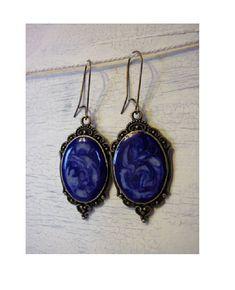 Boucles d'oreilles cabochons galaxy  bleue influence médiévale