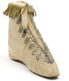 1799-1815 - this could be done with Nankeen boots, with applique and and fringe trim