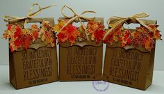 Autumn Themed Favor Bags using Simon Says Stamp November 2015 card kit and Lawn Fawn Stitched Leaves dies.