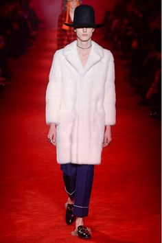Milan fashion week  Gucci winter- autumn collection  Men - menswear - fashion - trends - runway - Lfw - Nyfw - style - homme - couture - moda - masculina - men's - fashionista - trending - black - white - shoes - coat - pants - blue - furry - suit - hat - pink - brown