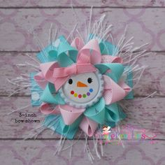 Glam Pastel Girly Snowman Loopy Flower Hair Bow CUTENESS!!!!!!!!!!!!!!!!